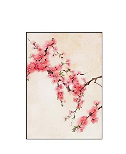 DPFRY Cuadro En Lienzo Estilo De Japón Flores De Cerezo Templo Primavera Flor Rosa Cartel Imagen De Arte De Pared para Sala De Estar Niñas Decoración del Hogar Qc72T 40X60Cm Sin Marco