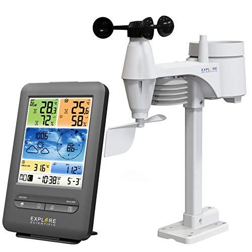 EXPLORE SCIENTIFIC WSX-1001-Estación, Profesional WiFi 5 en 1, Pantalla LCD, aplicación de Flash meteorológica, Temperatura/Humedad Interior y Exterior, Color Negro, pequeño