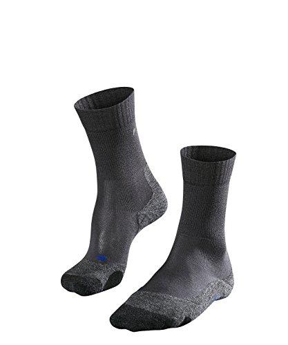 FALKE Damen Wandersocken TK2 Cool - Funktionsfaser, Wadenlange Wandersocke ohne Merinowolle für den leichten Wanderschuh, Grau (Asphalt Melange 3180), 37-38, 1er Pack