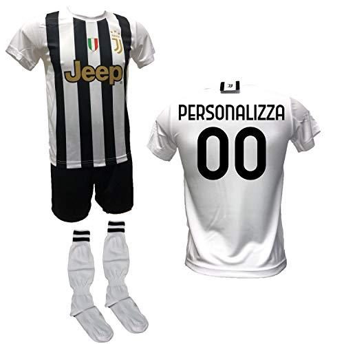 DND Di D'Andolfo Ciro Completo Calcio Maglia bianconera Home Personalizzabile, Pantaloncino e Calzettoni Replica Autorizzata 2020-2021 Taglie da Bambino e Adulto per Tifosi bianconeri (6 Anni)
