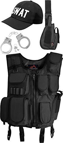 normani SWAT Kostüm bestehend aus Weste, Pistolenholster, Cap und Handschellen Farbe Black Größe XL