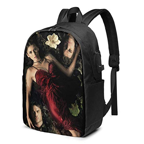 maichengxuan Vampire Diaries Backpack 17 Inch Travel Laptop Computer Backpack for Men Womens Youth Bookbag with USB Charging Port