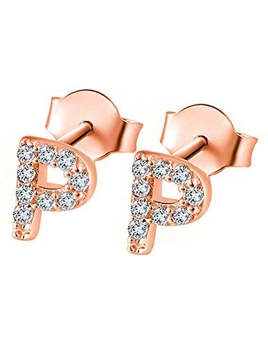 Paialco Pendientes Iniciales Oro de Rose Plateado con CZ Diamantes - Carta P