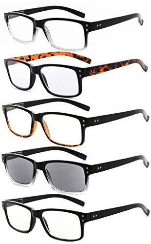Eyekepper 5-Pack Spring Hinges Vintage Reading Glasses Men Includes Sunshine Readers