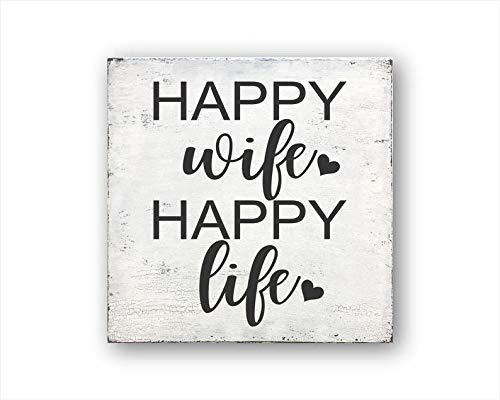 Maxwell546 Holzschild Happy Wife Happy Life, rustikale Wohndekoration, Einweihungsgeschenk, Hochzeitsgeschenk, Warnschild, Zitat rustikales Schild
