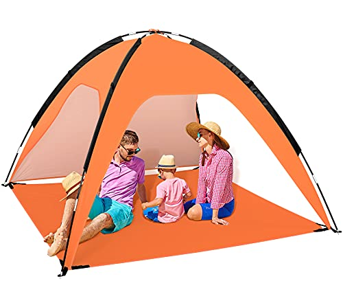 Fltom Beach Tent, Portable Beach Sun Shelter for UPF 50+ UV Protection, Easy Set Up 3-4 Person Beach Tent Shade with Carry Bag, Anti UV Beach Canopy Tent for Fishing Hiking Camping, Orange