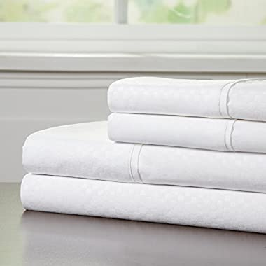 Brushed Microfiber Sheets Set- 4 Piece Hypoallergenic Bed Linens with Deep Pocket Fitted Sheet and Embossed Design by Lavish Home (White, Queen)