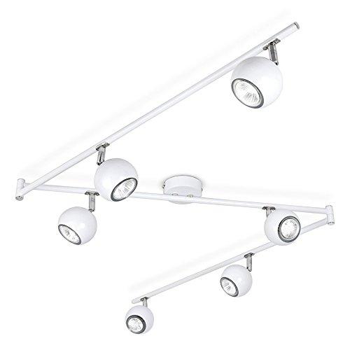 Retro ajustable 6way globo ocular–Lámpara de techo–incluye 6x 5W GU10Cálido bombillas LED de color blanco, Blanco, gu10, 5.0 wattsW