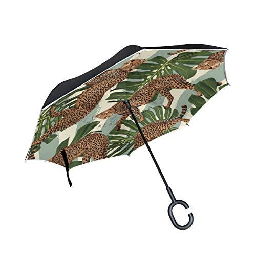 Guarda-chuva invertido U Life invertido com estampa de animal tropical, selva, leopardo, leão, palmeira, listrado, reversível, guarda-chuvas para carro, uso ao ar livre, com alça em forma de C