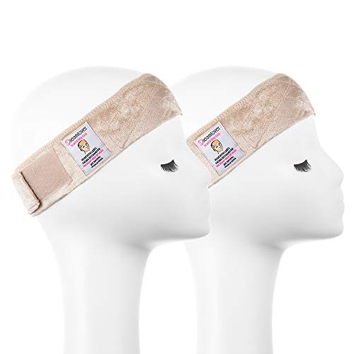 Dreamlover 2 Pack Elastic Wig Grip Headband, Adjustable Thin Velour Wig Scarf Hat Grip Band, Nude