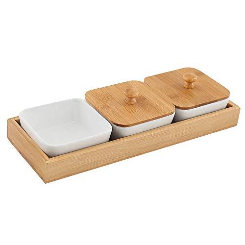 ACAMPTAR Bandeja de Bocadillo de CeráMica de 3 Compartimentos, con Tapas y Tarimas de Bambú, Cuencos Removibles una Prueba de Humedad para Refrigerios, Condimentos, Comida
