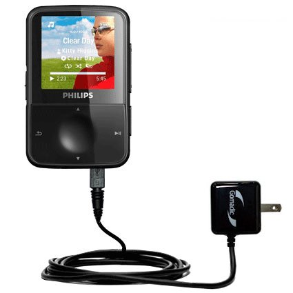 Gomadic Intelligent Compact AC Home Wall Charger Suitable for The Philips Gogear Vibe - High Output Power with a Convenient, Foldable Plug Design - Uses TipExchange Technology