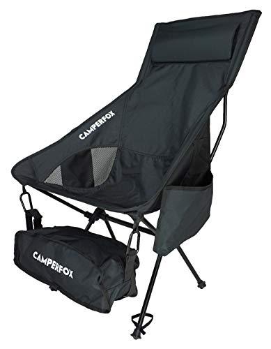 Silla de camping plegable CamperFox con portavasos y correa para el hombro - perfecta para recorridos en bicicleta, camping y exteriores - robusta, ligera, tamaño de paquete pequeño