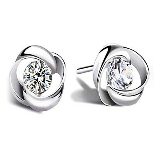 Sieraad oorstekers met strassteentjes, verguld in witgoud, 925 sterling zilver, geschikt voor vrouwen, bruiloften, prom cadeau