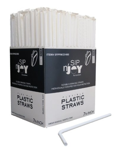 Crystalware Bulk Pack of 380 Flexible Plastic Drinking Straws - White, Individually Wrapped,...