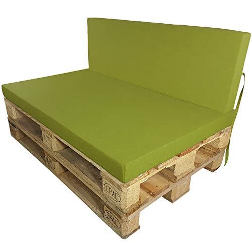 DILUMA Coussins pour Palette Europe Outdoor de proheim - À choissir Coussin d'assise ou de Dossier (Pas Un Set!) pour Sofa en Palette, Couleur:Pomme Verte, Variable:1 Coussin de Dossier 120 x 40 cm