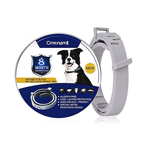 Cmonami Collar antipulgas para Perros,Collar antipulgas y antigarrapatas con 8 Meses de protección, Impermeable para Mascota Pequeño Mediano Grandes - 62cm
