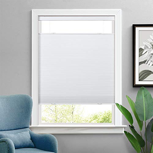 ChadMade Cordless Blackout Cellular Shade Top Down Bottom Up Honeycomb Blind Grey White, Pleated Honeycomb Shade Window Covering for Glass Door Bathroom Bedroom
