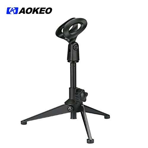 Aokeo PC-03 Folding Tripod Desktop Microphone Stand Holder with Adjustable Mic Clip for Podcasts, Online Chat, Conferences, Lectures, Streaming, YouTube, Meeting, Skype, Etc.