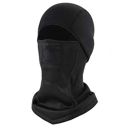 Balaclava Ski Face Mask UV Protection, Water-Resistant Windproof Breathable Thermal Fleece Hood Neck Gaiter Winter Sports Headwear for Skiing Snowboarding Motorcycling Running Walking (Black)