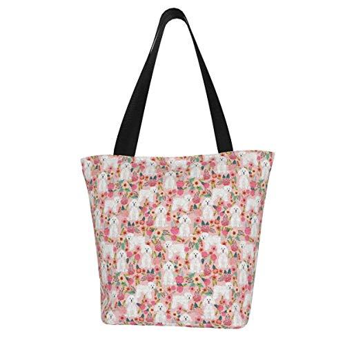 Personalised Canvas Tote Bag,Bichon Florals Cute Bichon Frise Dog Best...