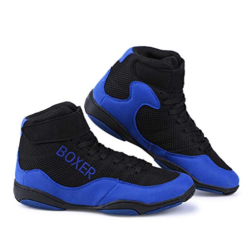 DRON TOOON Wrestling Shoes Boxing Shoes Men's and Women's Shock-Absorbing and Antiskid Shoes Blue