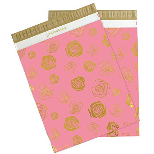 Inspired Mailers - Poly Mailers 14.5x19-50 Pack - Gold Roses Deluxe - Shipping Envelopes - Shipping Packaging - Mailing Bags - Mailing Envelopes - Large Poly Mailers