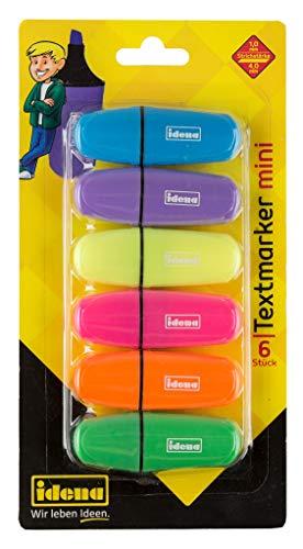 Idena 10490 - Texmarker Mini, 6 Farben, 6 Stück