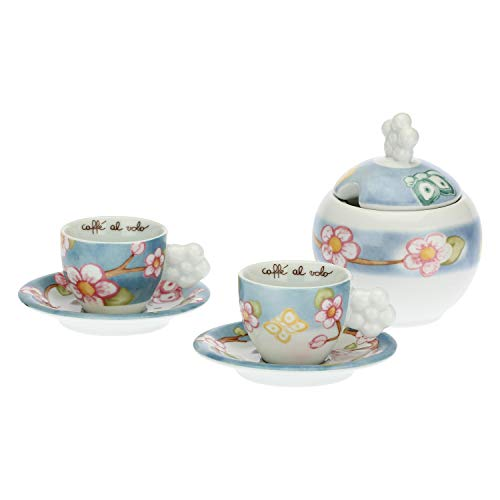 THUN - Set 2 Tazzine Caffè e Zuccheriera - Idea Regalo - Linea Color Your Easter - Porcellana - Tazzina Ø 6,5 cm, 5,5 h cm 60 ml, Piattino Ø 11,5 cm, Zuccheriera Ø 5,5 cm,h 11,5 (con Coperchio) 0,27 l