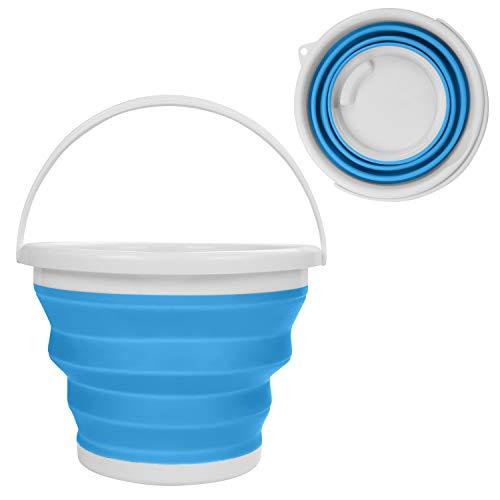 Cubo de Agua Plegable - 10litros Azul Cubo de Plegable en Plástico Silicona con Asa - Cubo Grande para Pescar, Acampar, Senderismo y Lavar el Coche