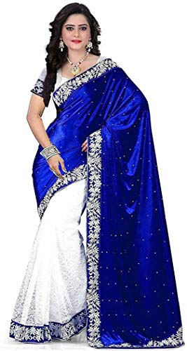 Market Magic World Women's Embroidered Saree with Blouse Piece(Blue)