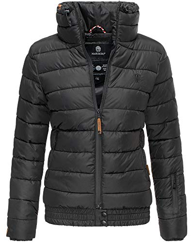 Marikoo Jacke Damen Stepp Jacke Warm Outdoor Streetwear Fleecetaschen PSN133 (X-Large, Schwarz)