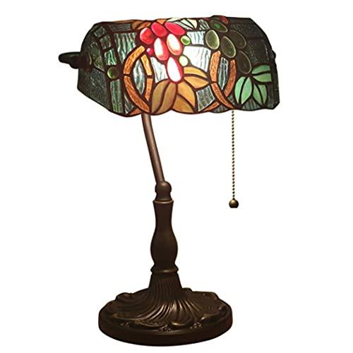 Art Deco Lámpara de mesa de cristal manchado estilo Tiffany con pantalla de 10.6 pulgadas antigua lámpara de escritorio para trabajar lectura, mesita de noche de oficina, 110-240 V, E27