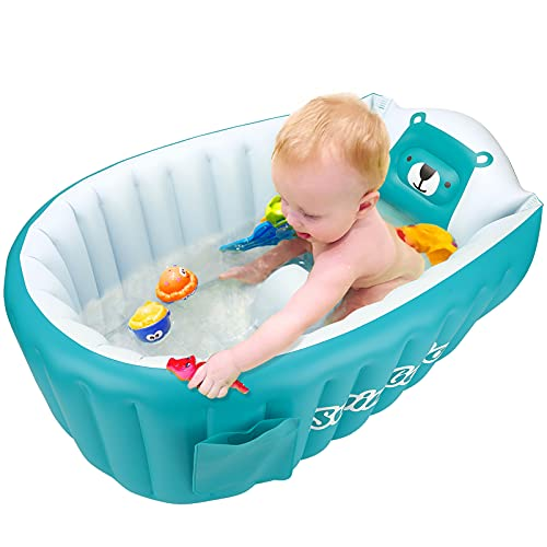 SHXKUAN Inflatable Bathing Tub for Toddler,Non Slip Safety Thick Cushion Central Seat,Portable Travel Seat Baths Baby Swimming Pool for 0-5 Year(Blue)