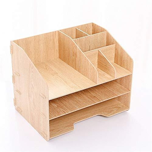 SKYEI Caja de almacenamiento de papelería de madera multicapa de papelería de gran capacidad para el hogar organizador de escritorio de suministros organizadores de escritorio escritorio escritorio