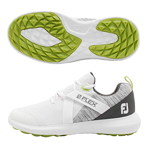 FootJoy Men's FJ Flex Golf Shoes, White/Grey, 10.5 M US