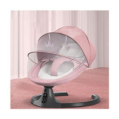 MOZX Elektrische Baby Wiege, Automatische Babyschaukel Mit Fernbedienung Und Bluetooth-Funktion, Babyschale Für Neugeborene Im Alter Von 0-24 Monaten, 5 Schwunggeschwindigkeiten,Rosa