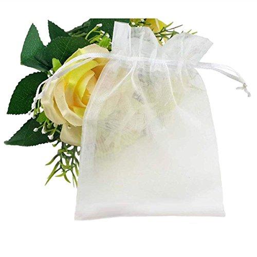 hilai 100x weiße Organza-Beutel mit Kordelzug, für Schmuck, Party, Hochzeit, Geschenk, 10x 15cm