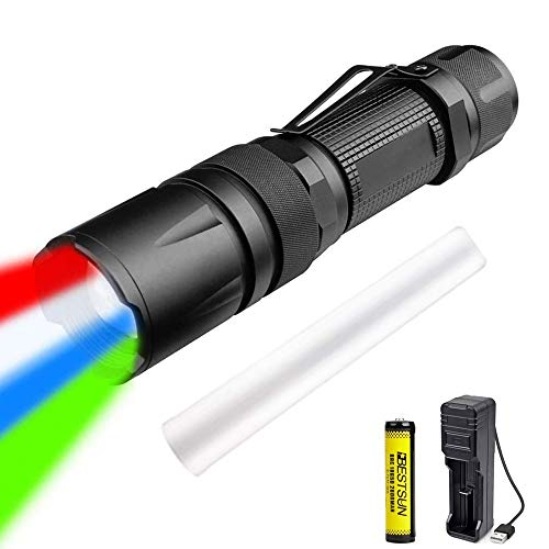 Linterna LED de 4 colores en 1, antorcha táctica multicolor Linterna roja verde azul blanca Linterna LED recargable Señal de tráfico Varita antorchas Zoomable 5 modos Luz de caza para caza