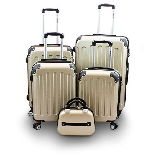 BERWIN Kofferset 5-teilig Reisekoffer Trolley Beautycase Hartschalenkoffer ABS Teleskopgriff (Champagne)