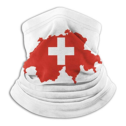 QDAS mannen vrouwen Zwitserland Swiss Map Flag Halsmanchet Winter Circle Loop Sjaals voor Dust Outdoor Sports Zwart