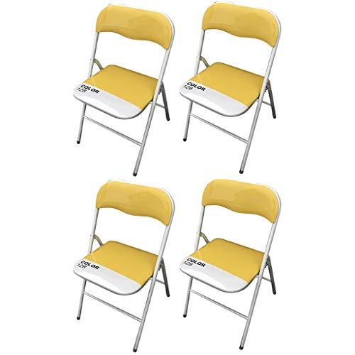 MILANI HOME Set di 4 SEDIE Pieghevoli Slim Gialle Color 128 di Design Leggere con Seduta Imbottita per Ufficio CASA Ospiti...