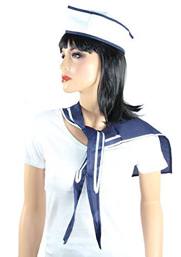 Foxxeo Matrosen Kostüm Set für Damen und Herren – Seemann Sparset – Matrosen-Mütze und Halstuch