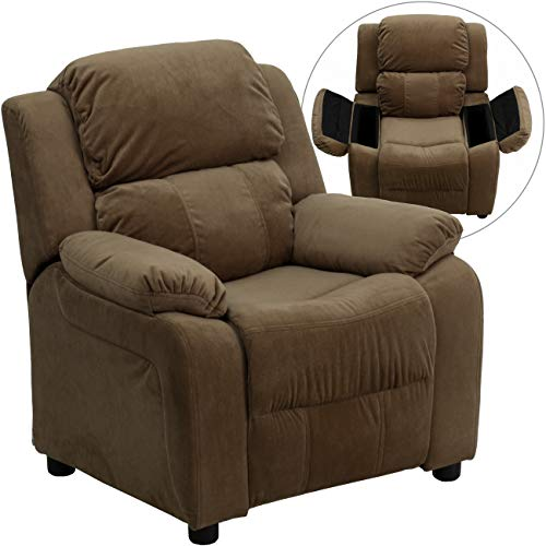 Deluxe Heavily Padded Contemporary Brown Microfiber Kids Recliner with...