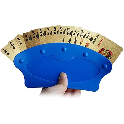 TX NIÑA Jugar Titular De La Tarjeta del Estante De La Bandeja Titulares Poker Portátiles Base Lazy Naipes Poker Apoyo Creativo Clip Organiza Manos For El Juego Fácil del Juego De Mesa (Color : Blue)