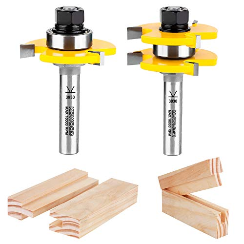 KOWOOD Tongue and Groove Set of 2 Pieces 1/2 Inch Shank Router Bit Set 3 Teeth Adjustable T Shape Wood Milling Cutter
