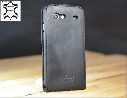 URCOVER® Custodia portafoglio Samsung i9070 | Protettiva Akira Fatta a Mano | Wallet Case Flip Cover in Vera Pelle nero | Cuoio Artigianale Elegante Business Premium