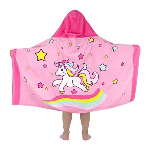 Vine Toalla de baño de Playa con Capucha para niños 100% algodón Súper Suave Toalla de Playa para niños/natación/baño Albornoz de Secado rápido para niños de 3 a 7 años (Unicornio Rosa)