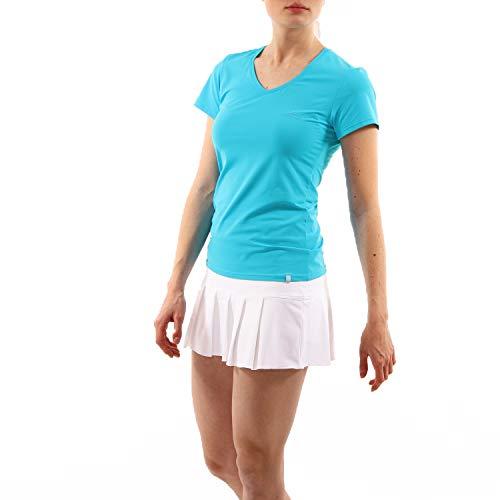 Sportkind Mädchen & Damen Tennis, Fitness, Sport T-Shirt, Kurzarm, V-Ausschnitt, UV-Schutz UPF 50+, atmungsaktiv, türkis, Gr. XXXL
