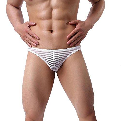 2018 Nouveaux Shorts de sport pour hommes YanHoo Fashion Nouveaux Slip Boxer pour hommes Pantalon modal en fibre de bambou Underwear (M, Blanc)